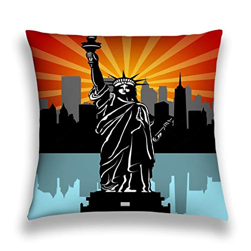 zexuandiy Kissenbezüge Throw Pillow Case Decorative Cushion Cover Square Pillowcase, Sofa Bed 18 X 18 Inch Twin Sides Statue Liberty Black White Fantasy