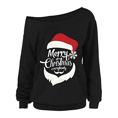 SANFASHION Noël Manteau Tops Imprimé Wapiti Arbre de Noël Le père noël Femme Blouse Couleur Shirt Col Ronde Mode Sweat Épaule Dénudé (Noir 5,XL)