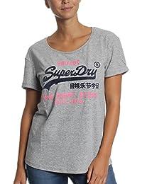 Superdry T-Shirt Women SHIRT SHOP NEW SLIM BF Diner Grey Marl