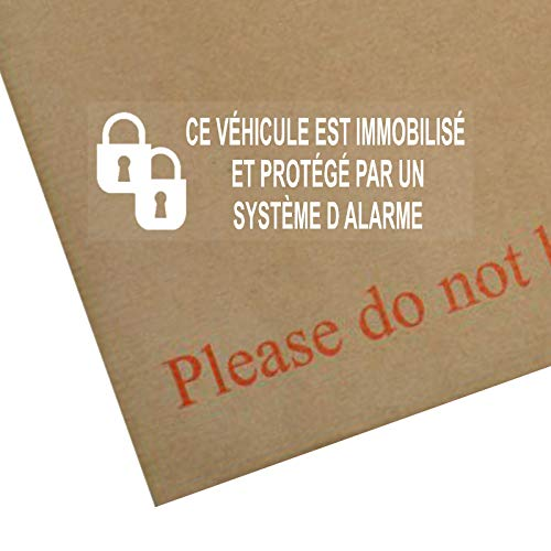 Platinum Place Ce Véhicule est Immobilisé et Protégé par un Système d Alarme-Autocollants de Fenêtre-Sécurité