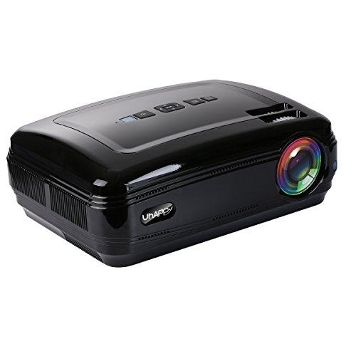 XSWE Mini-LED-Projektor, Portable Projektor, kompatibel mit iPhone/Ipad/TV Stick/Laptop PC/Smart Phone für Android 6.0,WiFi,Bluetooth-Black
