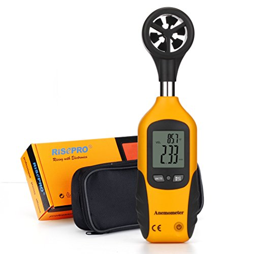 anémomètre, Risepro Digital Mini LCD Jauge de vitesse du vent Air Flow Speed Mètre et...