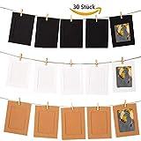 Sunmoch Bilderrahmen Collagen Papier Fotorahmen Set für 30 Fotos 10x15 cm Hängend Vintage Papierrahmen DIY Fotowand mit 30 Holzklammern und 3 Twines, 63 Stück
