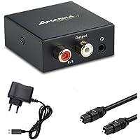 Audio Konverter Wandler Digital, AMANKA Toslink und Koaxial zu Analog (Cinch und 3,5mm Klinke) mit Netzteil 5V/DC und Toslinkkabel - Schwarz