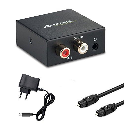 Audio Konverter Wandler Digital, AMANKA Toslink und Koaxial zu Analog (Cinch und 3,5mm Klinke) mit Netzteil 5V/DC und Toslinkkabel - Schwarz - Cinch-zu-optisch-wandler
