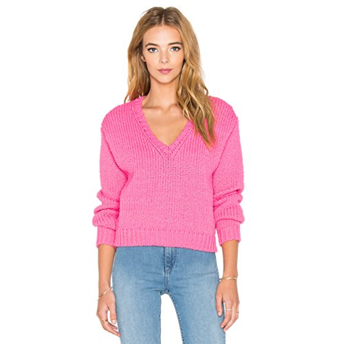 WanYang Femme Couleur unie à Manches Longues Top Pull Jumper Outwear Tricoté Pull ample Sweater Col V Jumper Hauts Tricots Rose
