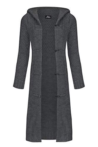 Mikos* Damen Cardigan Wolle Strickjacke mit Kapuze Long Lang Pulli Pullover Herbs Winter Beige Grau Schwarz S M L XL 36 38 40 42 (988) (Graphit, XL)