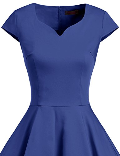 Dresstells Vintage 50er Swing Party kleider Cap Sleeves Rockabilly Retro Hepburn Cocktailkleider Royalblue