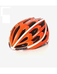 HYF-Aegis Casco de luz de freno de señal de giro de LED inteligente, casco de paseo en bicicleta de carretera / montaña , orange , M
