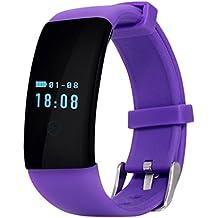 QHGstore D21 Monitor de ritmo cardiaco Pulsera inteligente Reloj de baño Reloj Contador de paso Llamada Mensaje Recordatorio Smartband púrpura