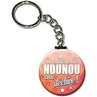 Je suis une NOUNOU qui déchire Porte clés chaînette 38mm ( Idée Cadeau Nourrice Garde Enfant Fin d'année Scolaire Noël Remerciement )