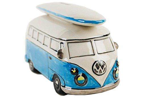 Life Arts Campingbus Sparschwein handgefertigt Keramik Surfboard-blau Large (6cm x 16cm x 8cm)