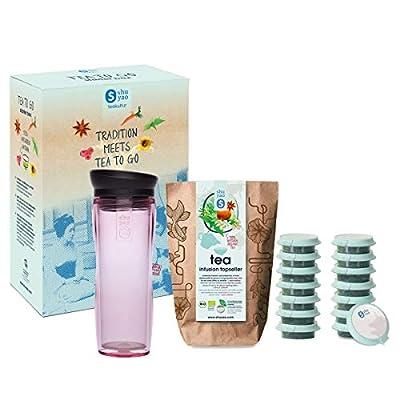 Shuyao Tea to Go Théière avec infuseur intégré + 5 x 3 Loser Bio Thé sans caféine Rose 45 g