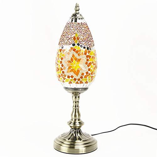 Bronze Tiffany Tischlampe (Türkische Schreibtischlampe handgemachte klassische Tischlampe, handgemachte Glasdekoration Tischlampe Nachtlicht, marokkanische Laterne Tiffany Stil Nachttischlampe Licht A+ (Color : Yellow))