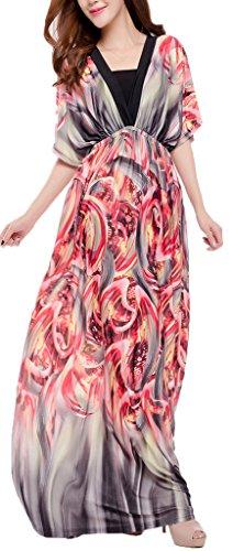 Mochoose Damen Elegant Kurzarm V-Ausschnitt Blumen Boho Maxi Böhmisches Langes Strandkleid Rot