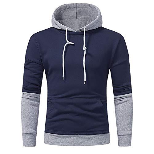 Jiameng felpa con cappuccio manica lunga, maglione da uomo in maglia autunno e inverno in pile da uomo maglione casual tinta unita (l,blu marino)