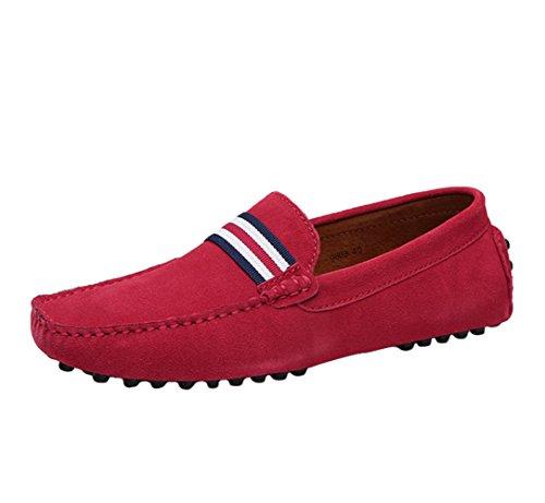 SK Studio Hommes Mocassins Cuir Loafers Chaussures de Conduite Noir/Bleu Grande Taille Chaussures de Ville Rouge 41 EU