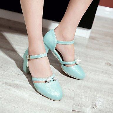 LvYuan Sandalen-Büro Kleid Lässig-Kunstleder-Blockabsatz-Komfort-Blau Lila Weiß Beige Blue
