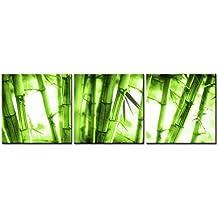 Lienzo Pintura para Decoración del hogar hermoso verde suave Bosque de bambú 3piezas Panel giclée de cuadros moderno arte enmarcado y estirado sobre la imagen para decoración de sala de estar Botanical imágenes Impresiones de fotos sobre lienzo