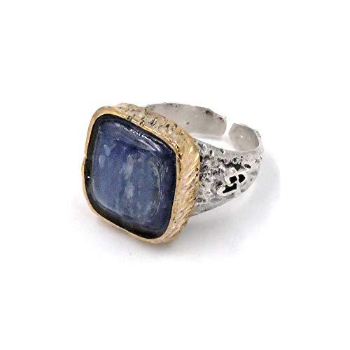 Les folies gioielli - anello in argento 925 con pietra naturale cianite blu latte
