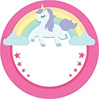 Olivia Samuel 45mm Pink Rainbow Unicorn Stickers Pack of 24 glossy stickers. Great for Envelope Seals, Party Bags and Kids Goodie Bags.