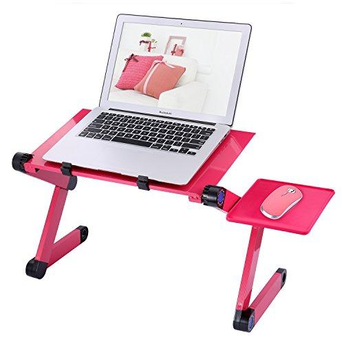 Etpark Notebooktisch Notebook Laptop Ständer Tisch Bett Frühstück Tablett mit Lüfter - Rose rot (Rose-eisen-bett)