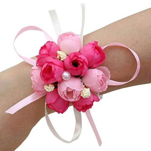 Busirde Mini Hochzeit Brautjungfer Wrist-Fälschungs-Blumen-Perlen Künstliche Handblumen-Armband Armband
