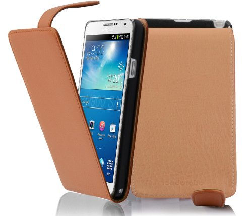 Cadorabo - Flip Style Hülle für Samsung Galaxy NOTE 3 (GT-N9005) - Case Cover Schutzhülle Etui Tasche in COGNAC-BRAUN