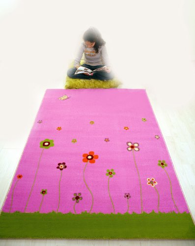 Little Helper 3D Childrens Play Rug in Summer Garden Design Design, Pink (134 x 180cm)