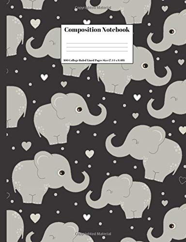 Composition Notebook: Cute Cartoon Elephants Design Cover 100 College Ruled Lined Pages Size (7.44 x 9.69)