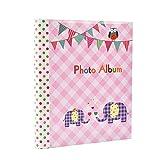 Álbum de fotos con 20 hojas autoadhesivas de color rosa, 40 caras, diseño de elefante, ideal para regalo, color rosa