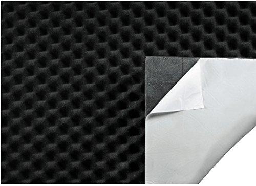 Hama Schallschutzisolierung Matte für Auto, PC oder Subwoofer Boxen (dämmender Noppenschaum, selbstklebende Schalldämmung, 50 x 100 cm, Dicke 9 mm - 24 mm) schwarz
