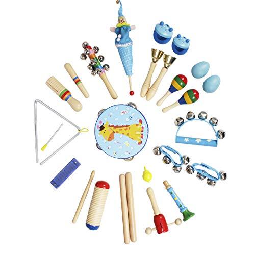 MRKE Musikinstrumente Kinder, 23 Stück Set Holz Musical Orff Instrumente Kinder, Schlagzeug Schlagwerk Rhythmus Band Werkzeuge