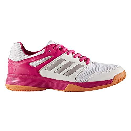 adidas Handballschuhe Speedcourt, Damen Handballschuhe, Mehrfarbig (Weiß/Silber/Pink 000), 39 1/3 EU (6 UK)