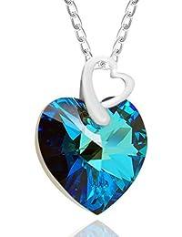 b10365a844956 Royal Cristaux Argent sterling Bleu océan double cœur Pendentif Collier  fait avec cristaux Swarovski, ...