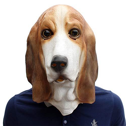 SC Loyale Hundemaske Halloween Hundekopfbedeckung Latex Basset Hound Geeignet Für Abschlussball Anzieh Witzige Show Party Parodie Geburtstagsfeier,39 * 38 * 34cm -