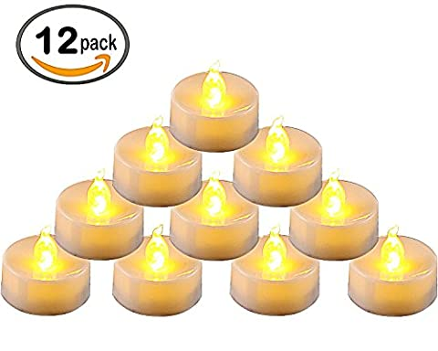 Homemory Lot de 12 Lumières Bougies à LED, Sans Flamme, Réaliste et Bright, Puissance de la Batterie, Fausses Bougies électriques pour Votive, Table Party Anniversaire Mariage(jaune clair)