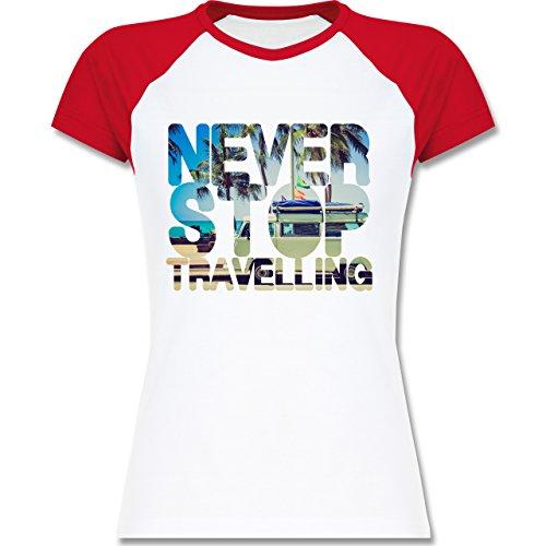 Shirtracer Statement Shirts - Never Stop Travelling Meer Palmen - Zweifarbiges Baseballshirt/Raglan T-Shirt für Damen Weiß/Rot