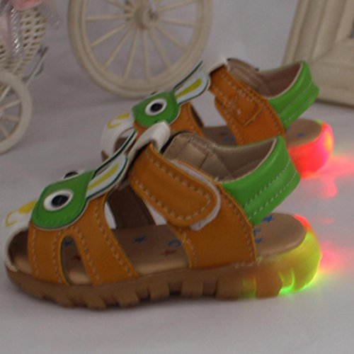 Igemy 1Paar Kleinkind Kinder Baby Boys Sommer mit blinkenden Lichter Sandalen Cartoon Schuhe Grün