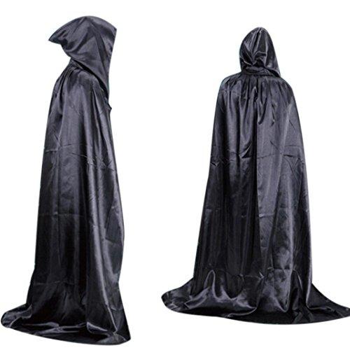 kingko® Umhang, zur Verkleidung als Vampir / der Tod, Halloween-Kostüm, Umhang für Erwachsene, lange Schleppe (schwarz)