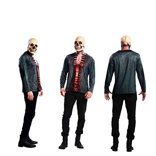 Skelett Kostüm Tshirt Herren - Partychimp 83-Y00010 - Skeleton T-Shirt, Erwachsene, L, schwarz