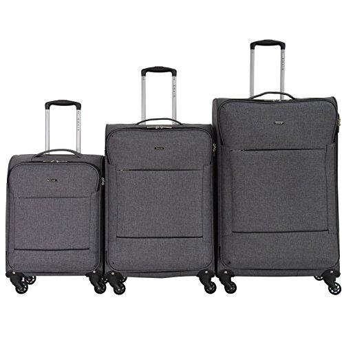 Shaik Serie FLEDER Design PVG 3 Größen M | L | XL | Set | Softcase Weichgepäck Kofferset, 4 Doppelrollen, Zahlenschloss … (Set, Grau) (Silber Hardside Gepäck)