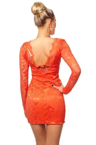 Partykleid Minikleid Abendkleid kurz mit Langarm und Spitze Korall
