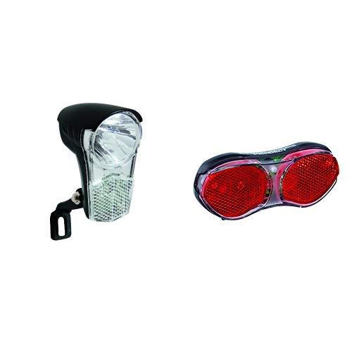Büchel Scheinwerfer LED 15 Lux mit Schalter, schwarz, 50170 & Büchel - Erwachsene Led Gepäckträger Rücklicht Piccadilly, schwarz, 11.69 x 5.02 x 1.79 cm