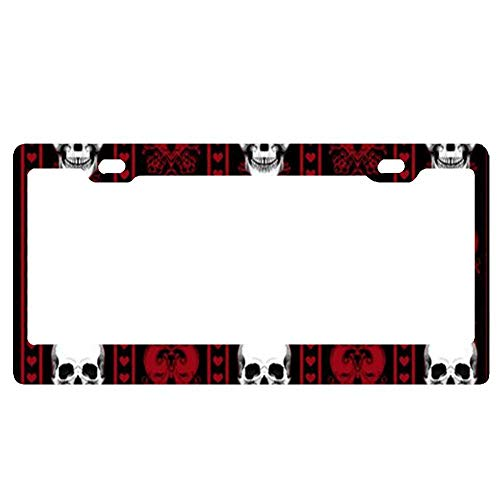 nse Plate Frame Funny Custom Gothic Skull Damask Scary Halloween Personalized Metal Tag Holder one size black 12 x 6 Inch 2 Packs ()