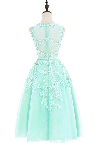 Damen Elegant Applique Tüll Abiballkleid Abendkleid mit Perlen Knilang Mintgrün 46