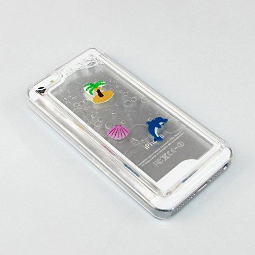iPhone 5C Bling Coque,iPhone 5C Glitter Coque,iPhone 5C Case,EMAXELERS 3D Unique Brillant Quicksand Transparent Liquide Case Etui Coque pour iPhone 5C,Cute Animaux Dolphins Motif Clair Liquide Rigide  A Dolphin Coconut Tree 4