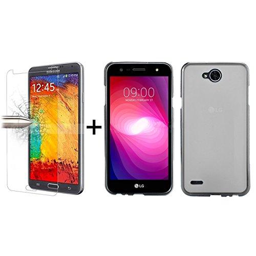 TBOC® Pack: Transparent Gel TPU Hülle + Hartglas Schutzfolie für LG X Power2 - LG X Power 2 (5.5 Zoll) - Ultradünn Flexibel Silikonhülle. Panzerglas Displayschutz in Kristallklar in Premium Qualität.