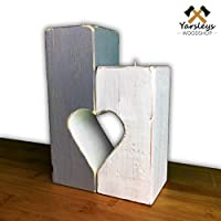 Shabby Chic White and Grey Wooden Heart Candle/Tea Light Holder