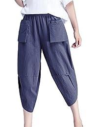 Hibote Harem Pantalones para Mujeres 3 4 Pantalones Capri de Moda Color  Sólido Casual Shorts 7d6a32660cd7